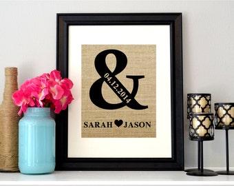 Ampersand Sign   Burlap Ampersand Wedding Sign   Personalized Ampersand Sign