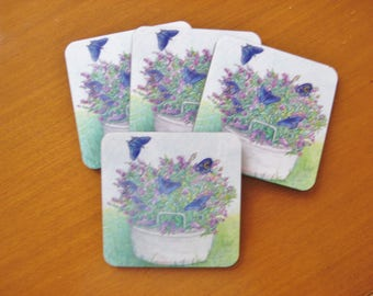 BLUEBERRIES AND FLOWERS Coaster Set