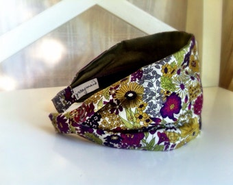 Liberty of London fabric headband for women head band with flowers purple green handmade hairband fabric hair band Margaret Annie