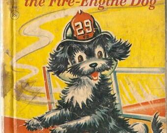 Kerry the Fire-Engine Dog a Rand McNally Elf Book - Frank Lewis and Alfred J. Corchia - Dorothy Grider - 1959 - Vintage Kids Book