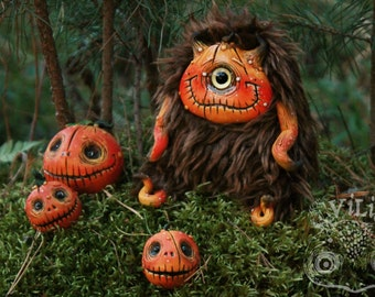Cyclops - Pumpkin - Halloween - fluffy, soft toy handmade - OOAK - Art Doll - Polymer clay, faux fur - Funny Creepy Weird Odd Freak Cute