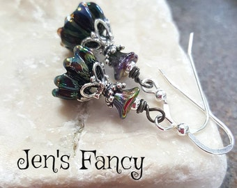 Floral Art Glass Earrings, Sterling Silver,  Handcrafted, Gift for Mom, Irridescent, Unique, Jewelry, Bell Flower, Womens Gift, Lampwork