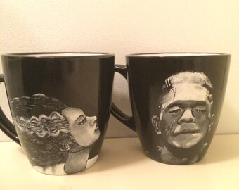 Unofficial fan art Frankenstein and Bride of Frankenstein Monster portrait mugs