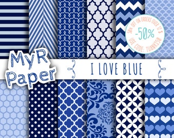 "Blue digital paper: ""I LOVE BLUE""  pack of backgrounds and patterns with  chevron, polka dots, stripes, dots, damask, quatrefoil, hearts"