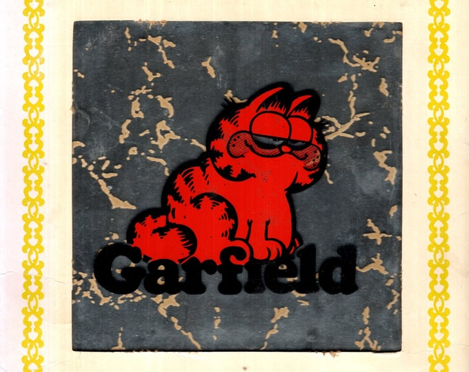1980's Garfield Logo Tile Glass Mirror Carnival Prize with Cardboard Holder