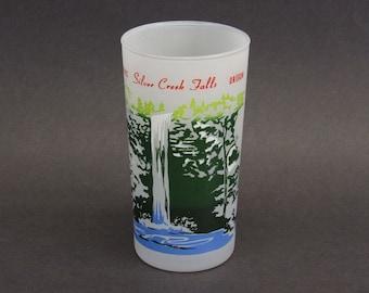 Vintage Silver Creek Falls Oregon Frosted Souvenir Glass (E10570)