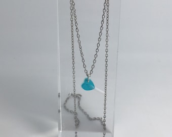 Small blue heart Lollipop resin cast necklace, pendant charms handmade. By Emily M A Parkin