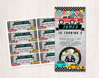 Car Racing Birthday Invitation & Thank You Tags