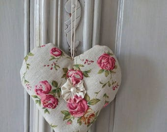 romantic shabby fabric heart door pillow
