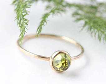 Rose cut Peridot 14k gold ring, yellow gold, rose gold, stacking ring, August birthstone, graduation gift, mothers birthstone ring, green