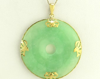 Bi disc necklace etsy estate 14k yellow gold bow green jade donut bi disc pendant 126g aloadofball Image collections