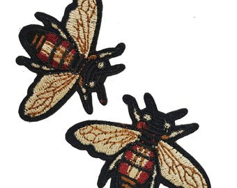 Embroidered Iron On Fly Patches Appliques, Insects Gucci Style Badges, Iron on Flies Patches