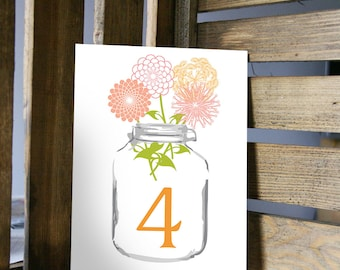 Table Number Card - Mason Jar Watercolor with Wildflowers - 5x7 or 4x6 Card