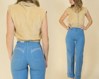 Vintage 1970s High Waisted Baby Blue Straight Leg Cotton Pants // High Rise
