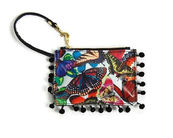 Rainbow Butterfly Wallet // Pom Pom Pouch // Colorful Coin Purse Charm