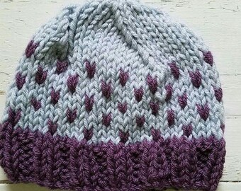 Knitted Toddler Purple Heart Hat