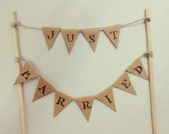 Just Married cake bunting topper
