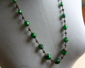 Green Venetian Foil Glass Necklace REDUCED PRICE