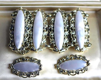 Pearly White Signed Coro Pegasus Bridal Demi Parure Bracelet Earrings Thermoplastic Silvertone Set Fancy Filigree Wedding Bride Mid Century