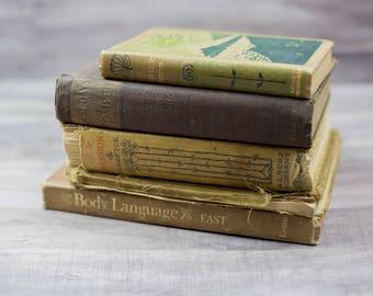 Antique Vintage Tattered Old Brown Tan Book Bundle Home Decor Book Shelf