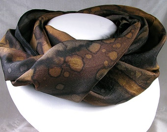 Silk Scarf - Hand Painted Silk Art - Quintessence, Silk Wrap - black and brown - Midnight Canyon