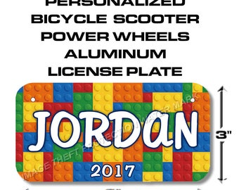 YOUR NAME Lego Bicycle Toy Bike Scooter Power Wheels Boy or Girl License Plate Tag Gift