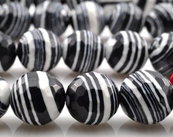39 pcs of Zebra Stone Faceted round beads in 10mm