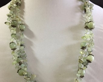 Hand Made Crochet Necklace with Prehnite.