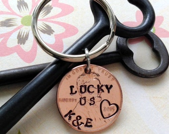 Personalized Lucky US Penny Keychain/ Stamped Penny/2017 Couple Gift/ Wedding /1st Anniversary/ Gift for Her Gift For Him