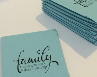 Family... A link to the past, A bridge to the future Inspirational Pastel Blue Set of 10 Matchbook Mini Notepad Notebooks