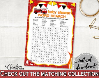 Word Search Baby Shower Word Search Fireman Baby Shower Word Search Red Yellow Baby Shower Fireman Word Search - LUWX6
