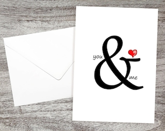 I Love You Card-Cute Anniversary Card-Wedding Cards-Cards for Bride and Groom-Baby Card-Love Cards-Just Because Cards-You & Me with Heart
