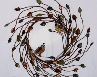Iron Twig Quail Wreath