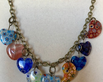 heart necklace millefiori beads very colorful romantic