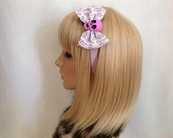Purple lace skull headband hair bow rockabilly psychobilly sugar gothic Lolita lilac cute pin up girl vintage shabby chic pretty pastel
