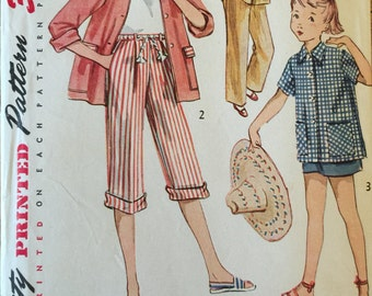 VTG 3936 Simplicity (1950s). Girl's shorts, pedal pushers, slacks, jacket. Size 7.  Complete, neatly cut, unused. Excellent cond.