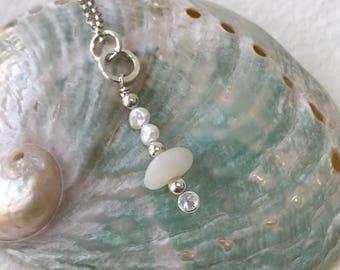 white milk glass sea glass necklace, sea glass white sea glass pearl necklace, white sea glass necklace, bridal bridesmaid beach wedding