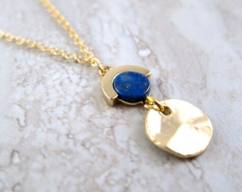 Lapis Circle Chain Necklace with Gold Disc - Minimalist Round Blue Geometric Stone Pendant