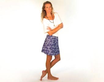 Blue Bird Print Skirt - Organic Cotton Mini Skirt - Bias Cut - Short Summer Skirt - Organic Clothing