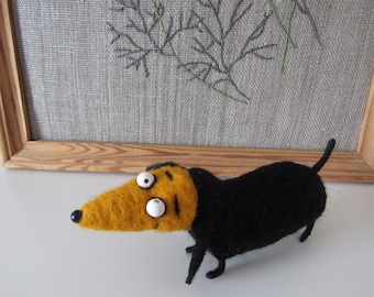 Dachshund wooltoy Animal felted Wool home decor feltedToy woolDachshund animalfelt  Miniature feltdecor Felted needle wooldog handmade toy