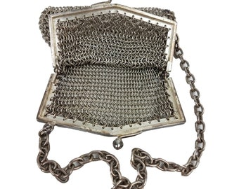 Antique Silverplate Mesh Purse // 1900's EPNS Chain Mail Dance Bag Chatelaine // Small Edwardian Wristlet Handbag // Made in England