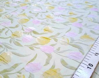 Yellow and pink jacquard fabric #1432