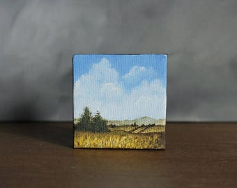 Country Landscape, Miniature Canvas Painting, Farm Field, Miniature Art, Landscape Painting, Mini Art