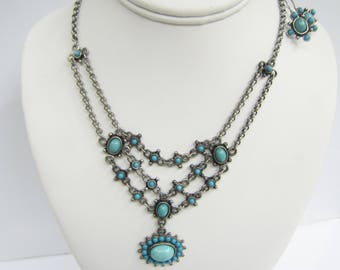Southwestern Style Silver Tone and Faux Turquoise Necklace and Dangle Earrings Set - 1879
