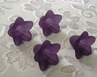 Dark Purple Frosted Lucite Acrylic Flower Cap Beads 12mm x 18mm 410