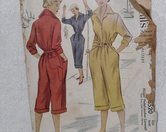 McCall's 8520 Pattern Pedal Pusher Coverall Jumpsuit Size 12 Bust 30 Vintage 1950's