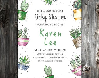 Cactus Theme Baby Shower Invitation - 5x7 - DigitalArt