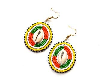 Multicolor Seed bead earrings Seashell earrings Large ethnic earrings Dangling Cowrie earrings Masai inspired earrings Tribal jewelry gift