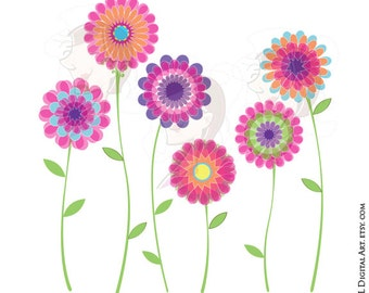 Pink Flower Clipart Spring Flowers Floral VECTOR Clip Art Digital Download Scrapbook Craft Supplies DIY Invitations Commercial Use 10042