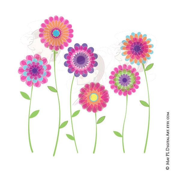 Pink Flower Clipart Spring Flowers Floral VECTOR Clip Art